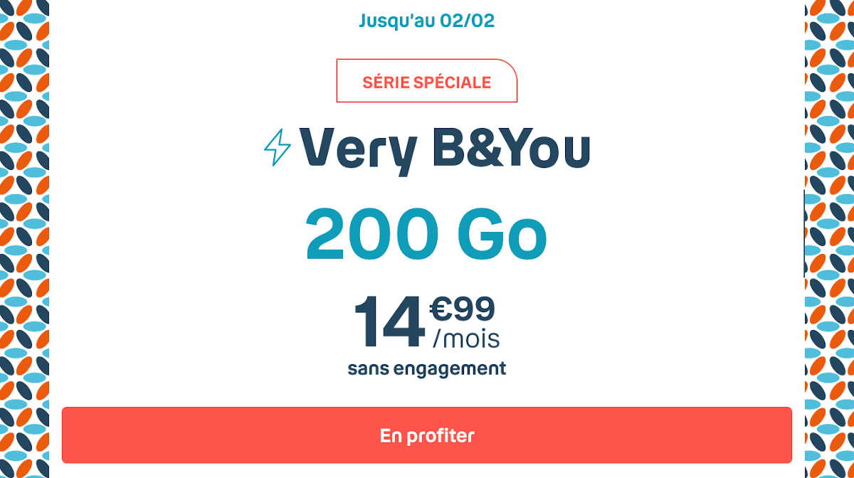Very B&YOU forfait mobile 4G 200 Go