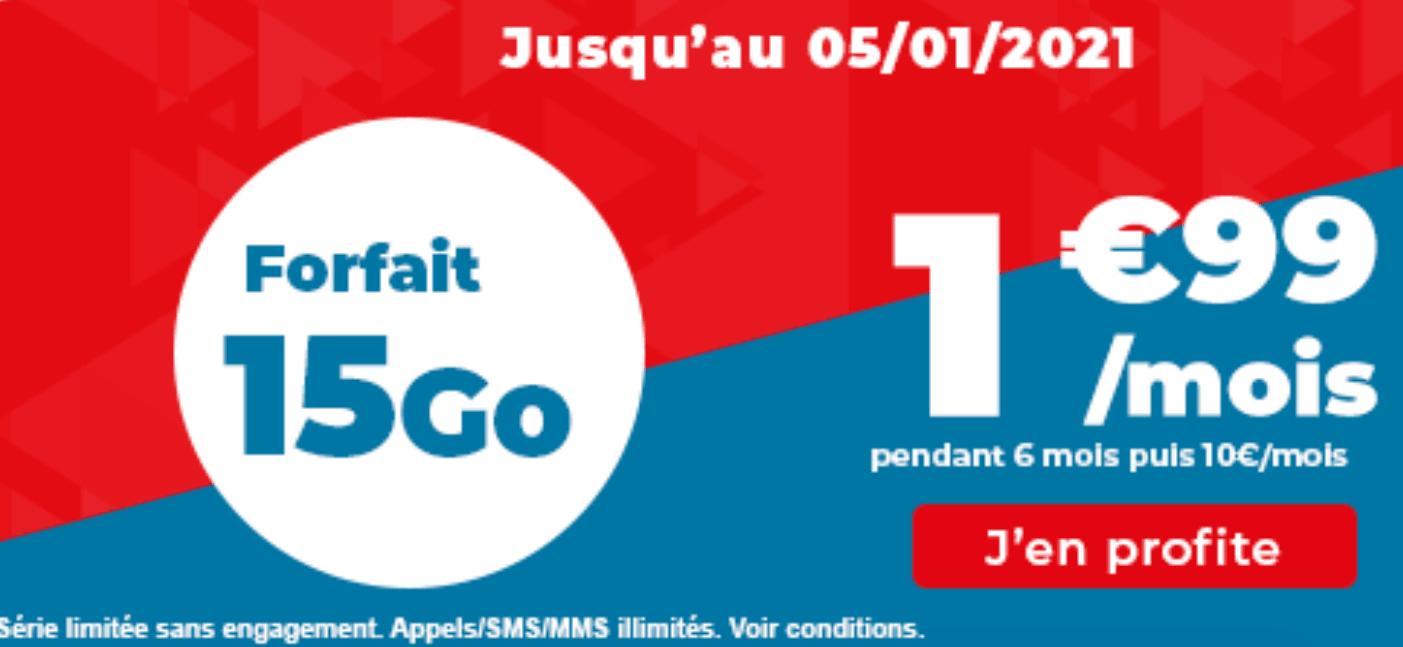 forfait 4G Auchan telecom 15 Go