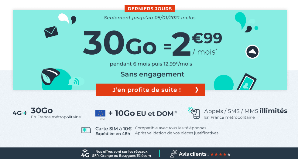 forfait 4G Cdiscount Mobile 30 Go