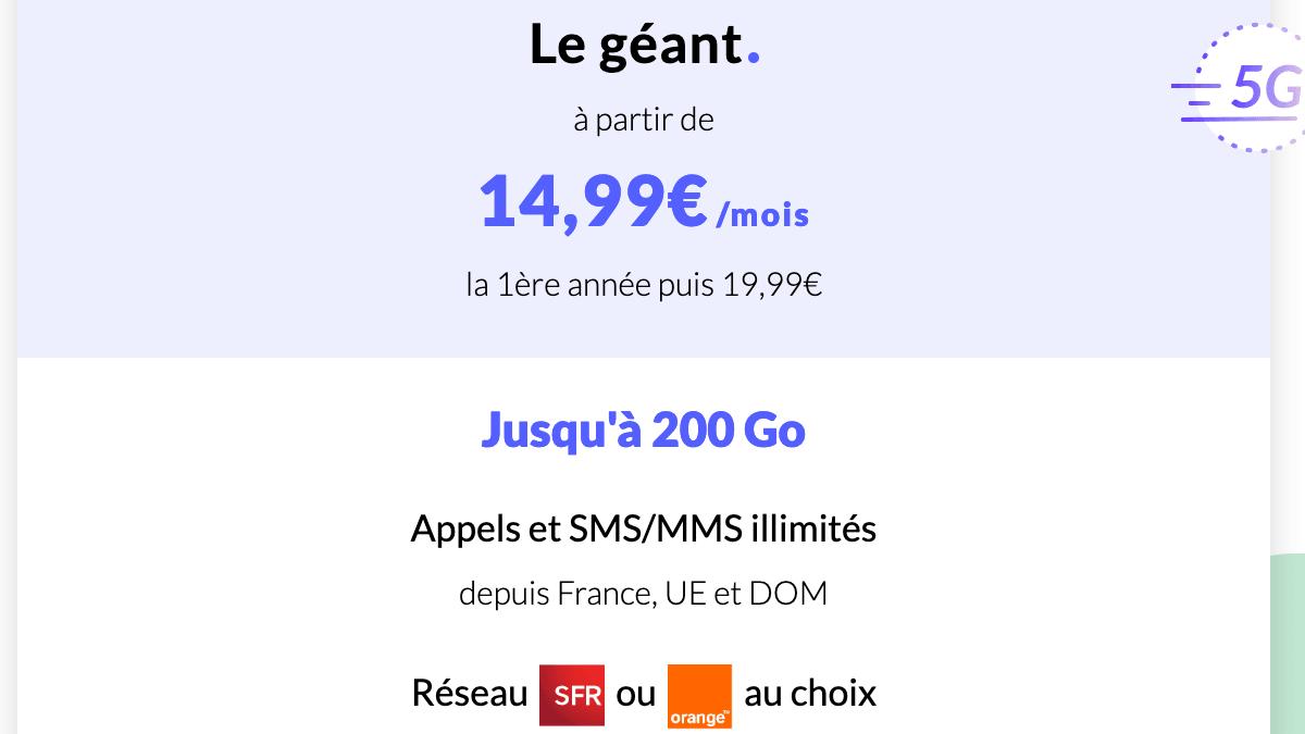 Le forfait 4G/5G Le géant