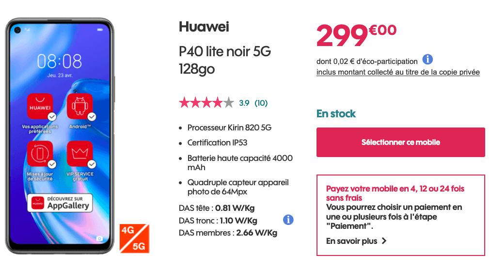 Le Huawei P40 Lite chez Sosh