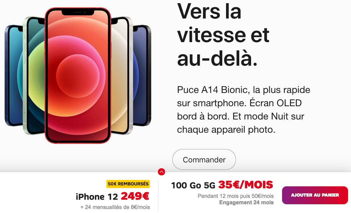 iPhone 12 SFR avec forfait mobile 100 Go 5G