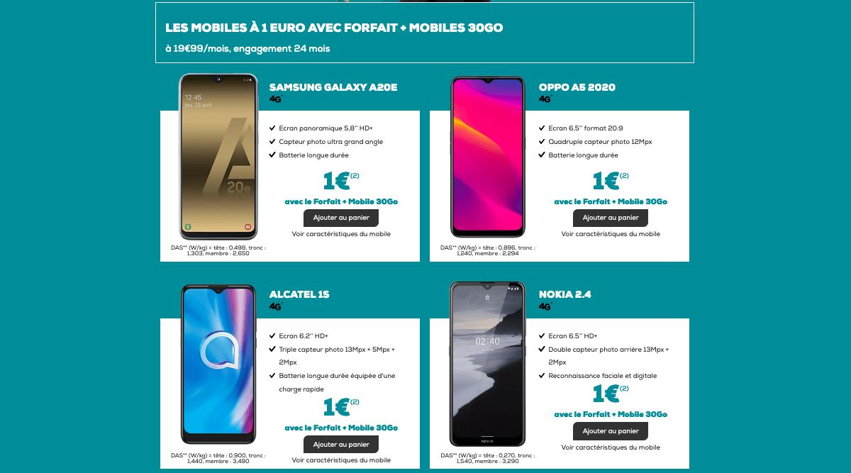 Les mobiles avec le forfait 30 Go de La Poste Mobile