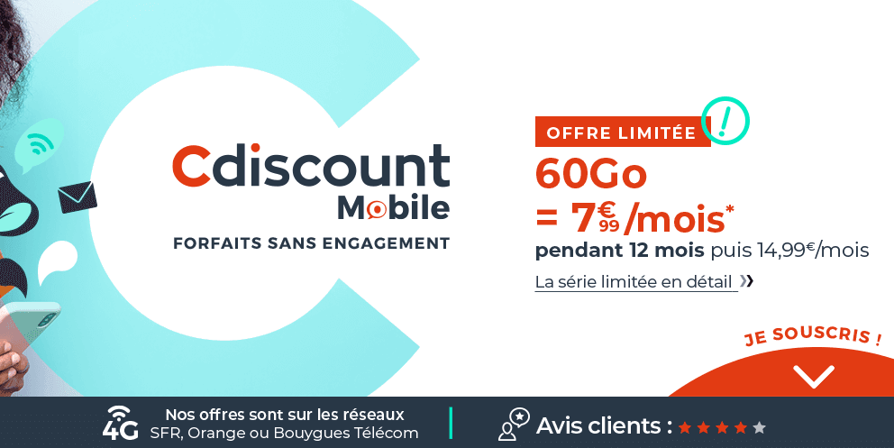 Les forfaits 4G Cdiscount Mobile