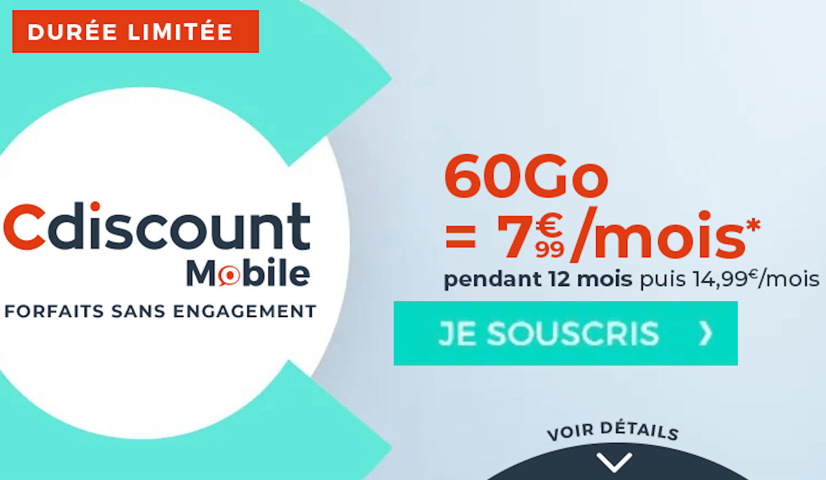 Forfait 4G Cdiscount Mobile 60 Go
