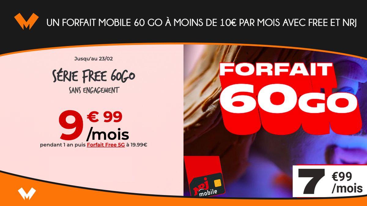 Un forfait mobile 60 Go à moins de 10€ par mois avec Free et NRJ - MonPetitForfait