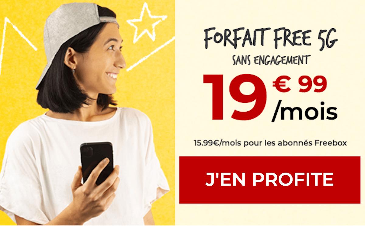 Forfait Free offre mobile 5G sans engagement