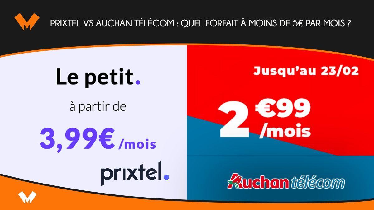 Prixtel vs Auchan télécom : quel forfait à moins de 5€ par mois ? - MonPetitForfait