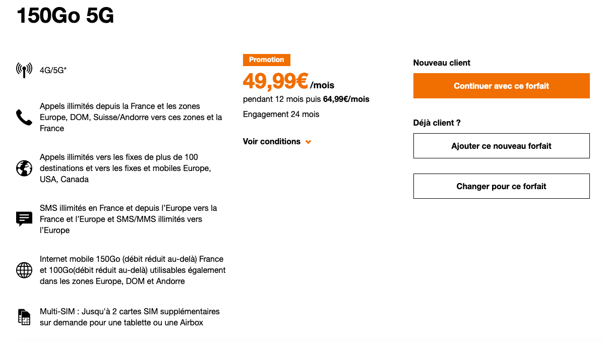 Forfait 5G avantage smartphone