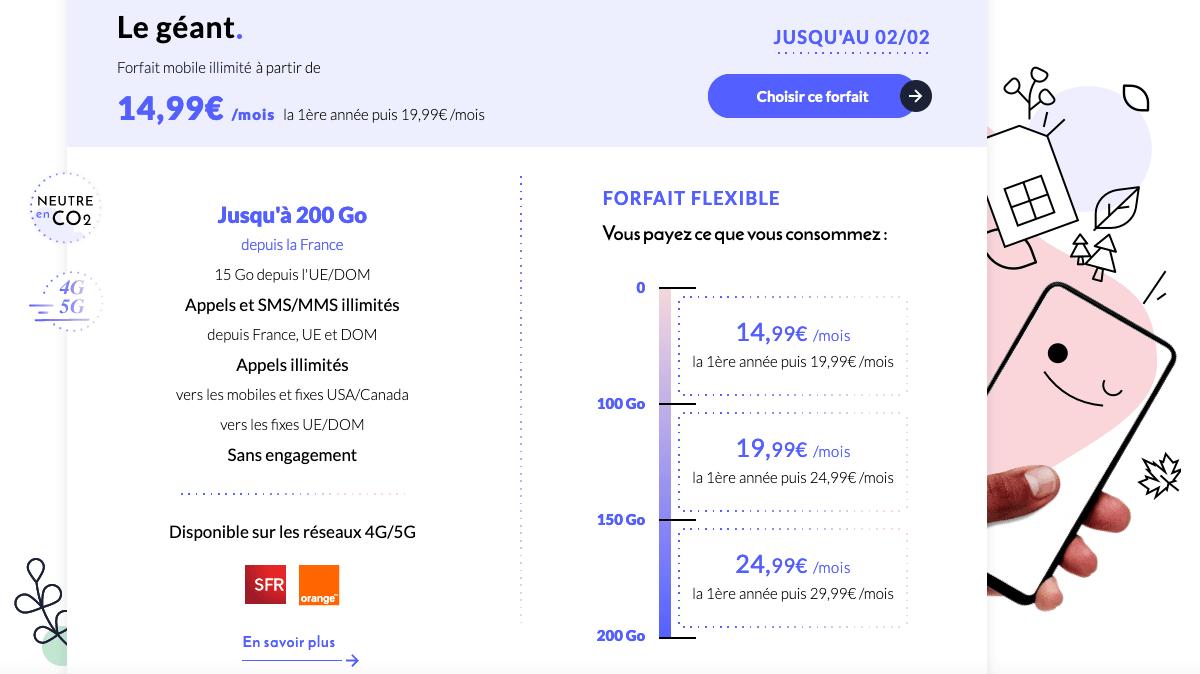 Forfait Le géant Prixtel 4G 5G