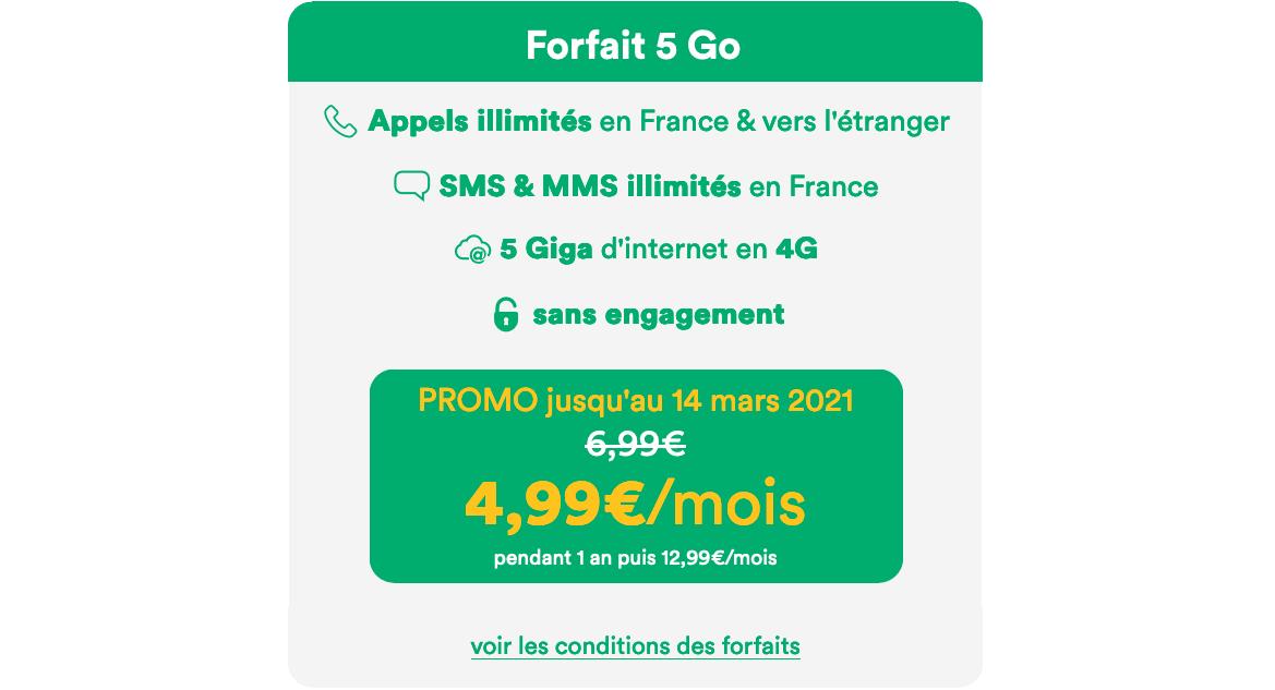 Mint Mobile forfait cinq euros