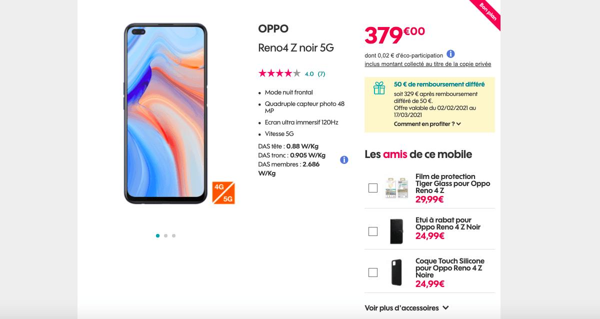 Oppo Reno4 Z 5G pas cher chez Sosh