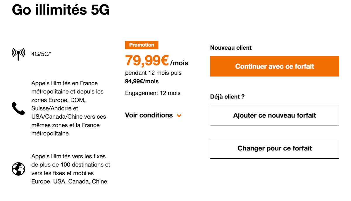 Orange forfait 5G data illimitée