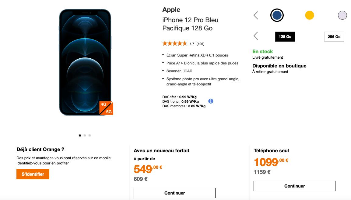 Orange promo sur l'iPhone 12 Pro