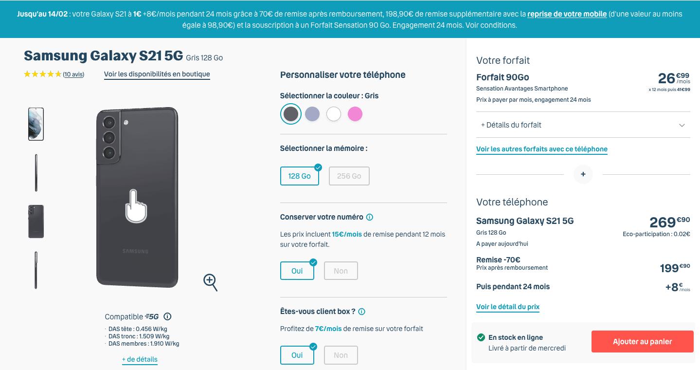 Samsung Galaxy S21 chez Bouygues