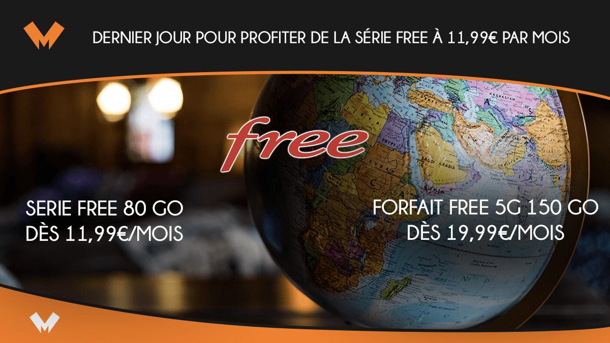 Dernier jour pour profiter de la Série Free à 11,99€ par mois - MonPetitForfait