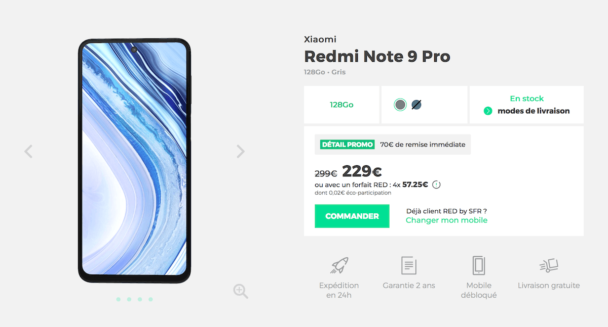 Xiaomi redmi note 9 pro red