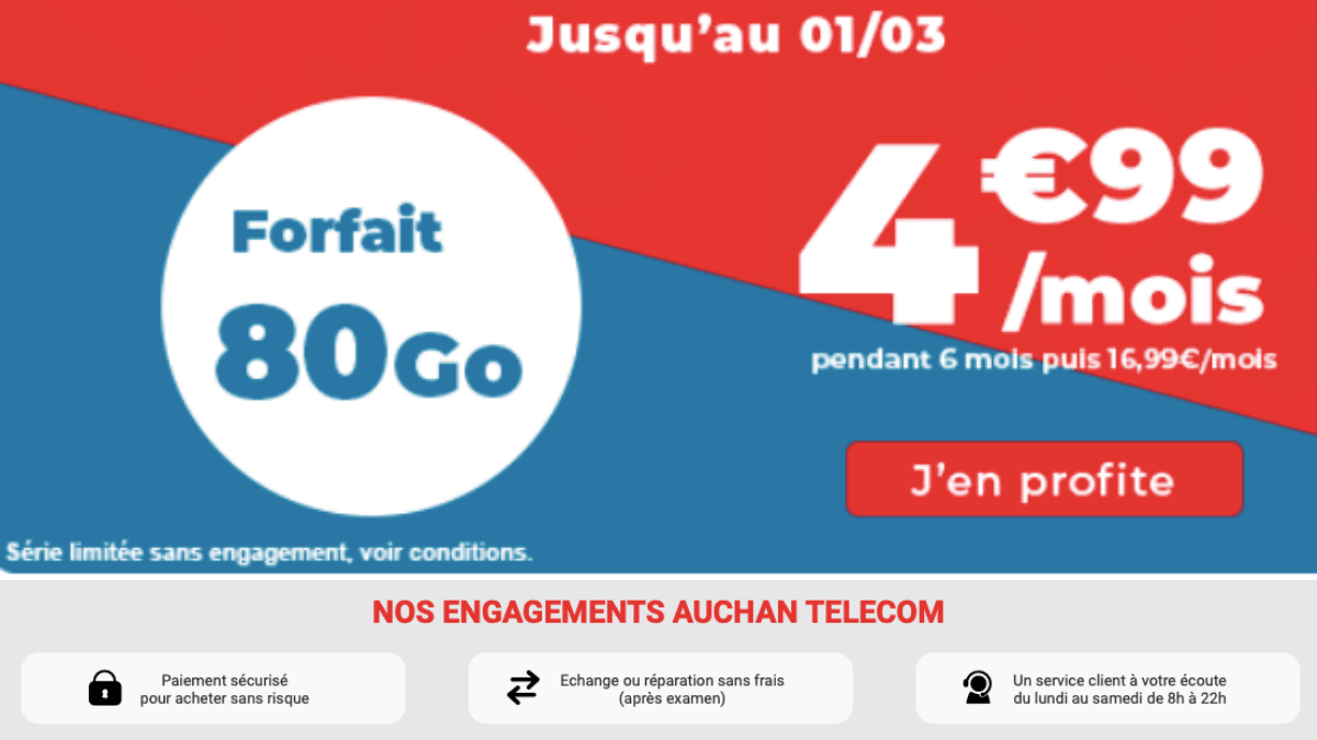 auchan telecom 80 go forfait mobile