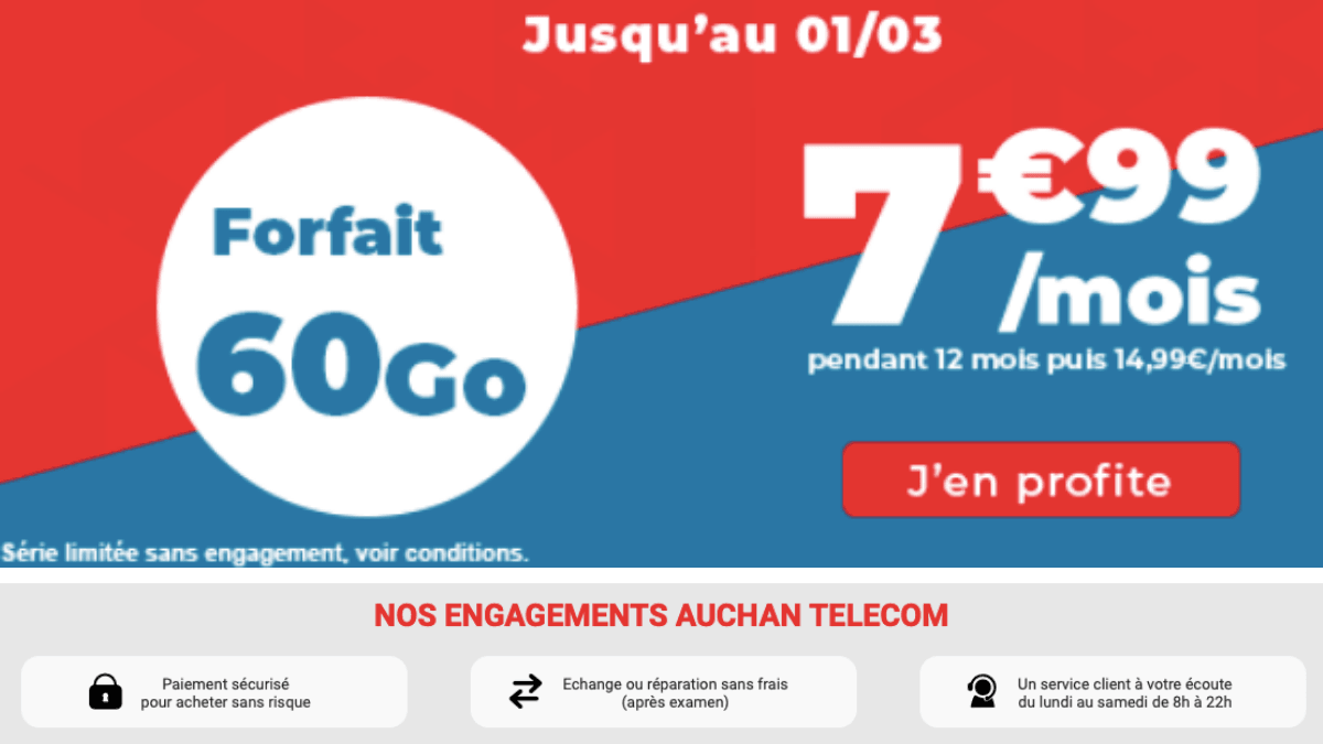 auchan telecom forfait mobile 60 go