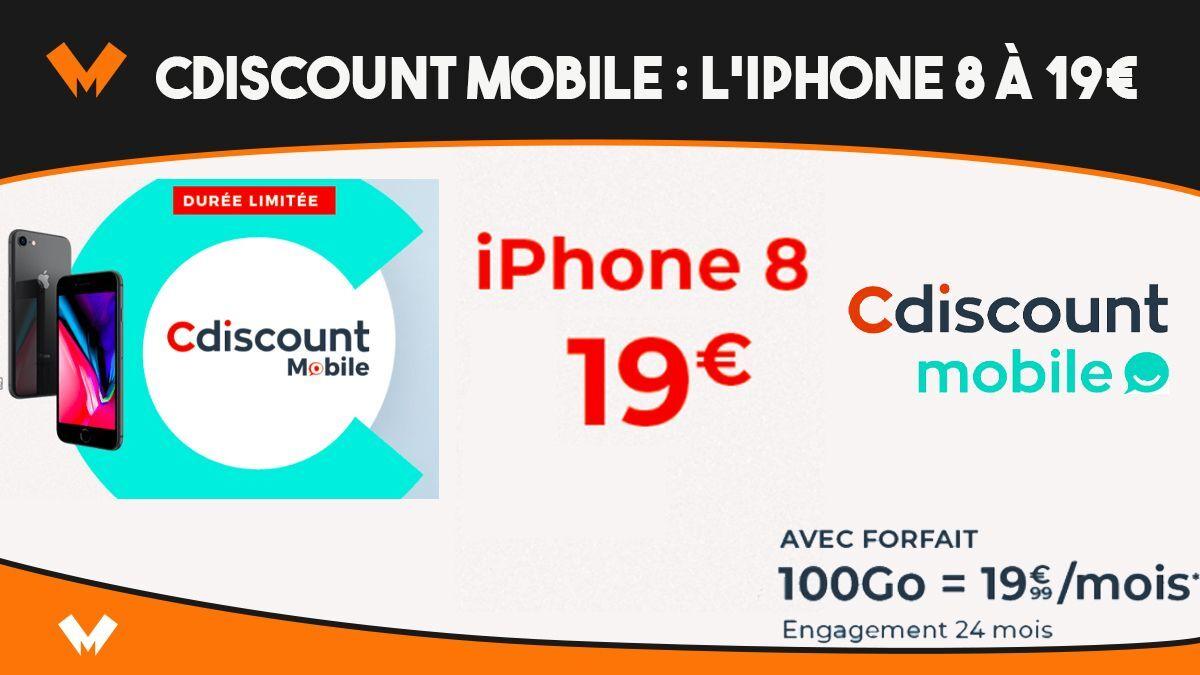 L'iPhone 8 à seulement 19€ chez Cdiscount avec un forfait 100 Go - MonPetitForfait