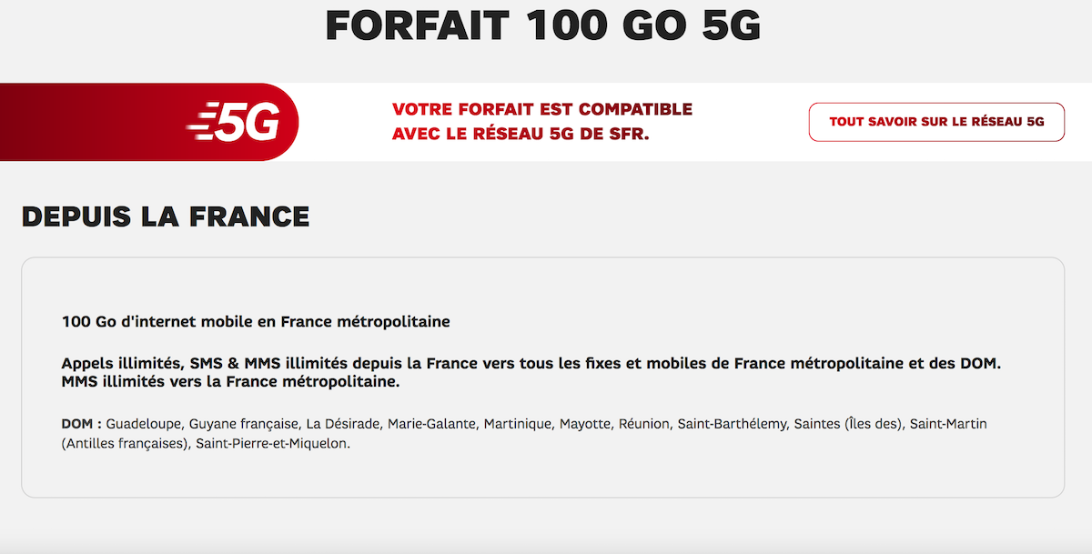 forfait 100Go 5G SFR