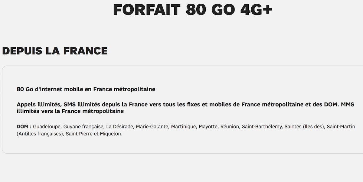 forfait 80 Go 4G+ SFR