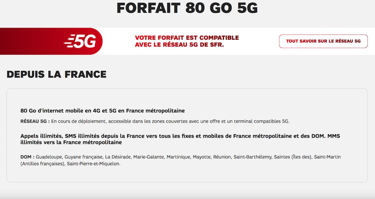 forfait 80go 5G SFR