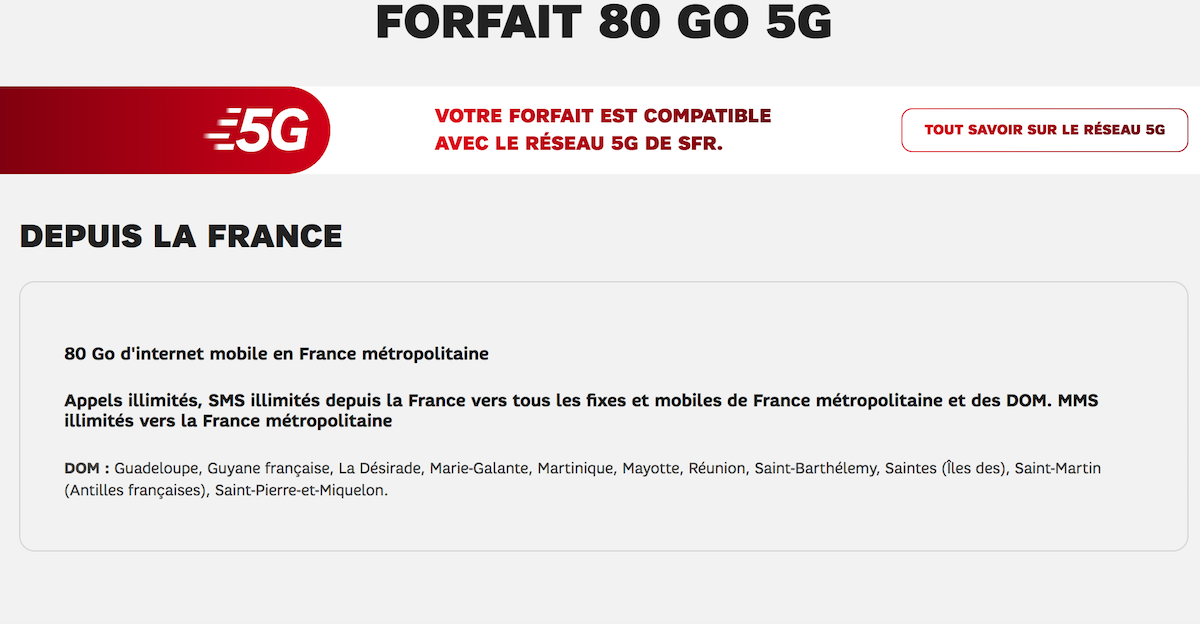 forfait 80go SFR