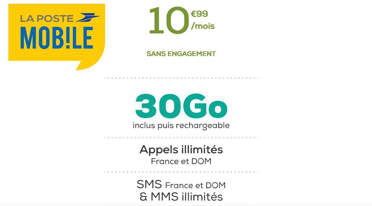 Forfait sans engagement 30 Go La Poste Mobile