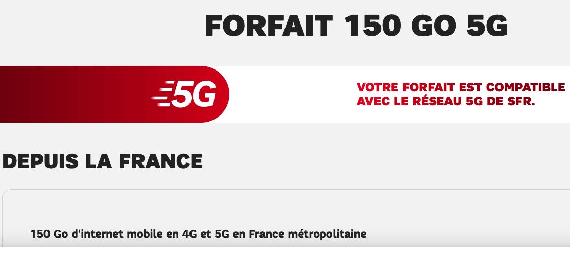 Le forfait 5G de SFR