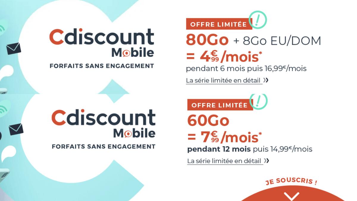 Les offres 4G de Cdiscount Mobile