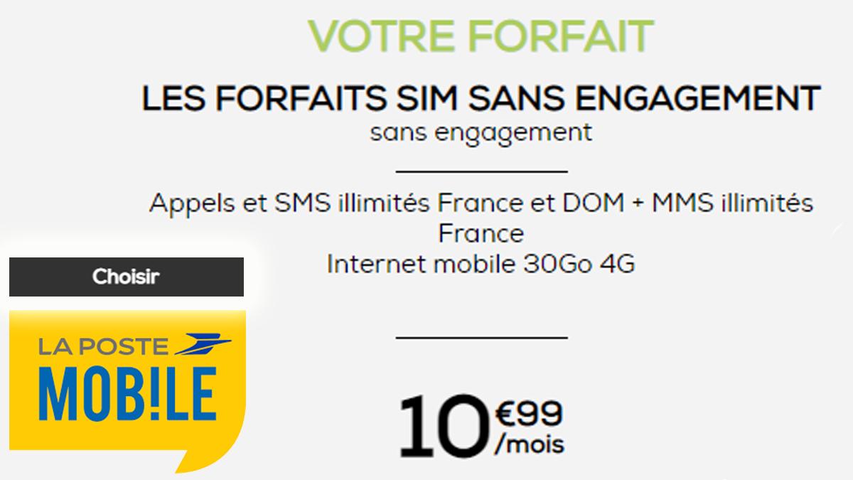 Forfaits à 10€ La Poste Mobile