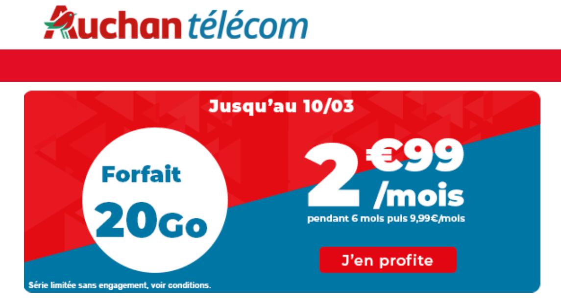 Forfait à moins de 5€ Auchan