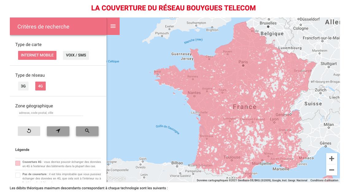 Couverture réseau Bouygues