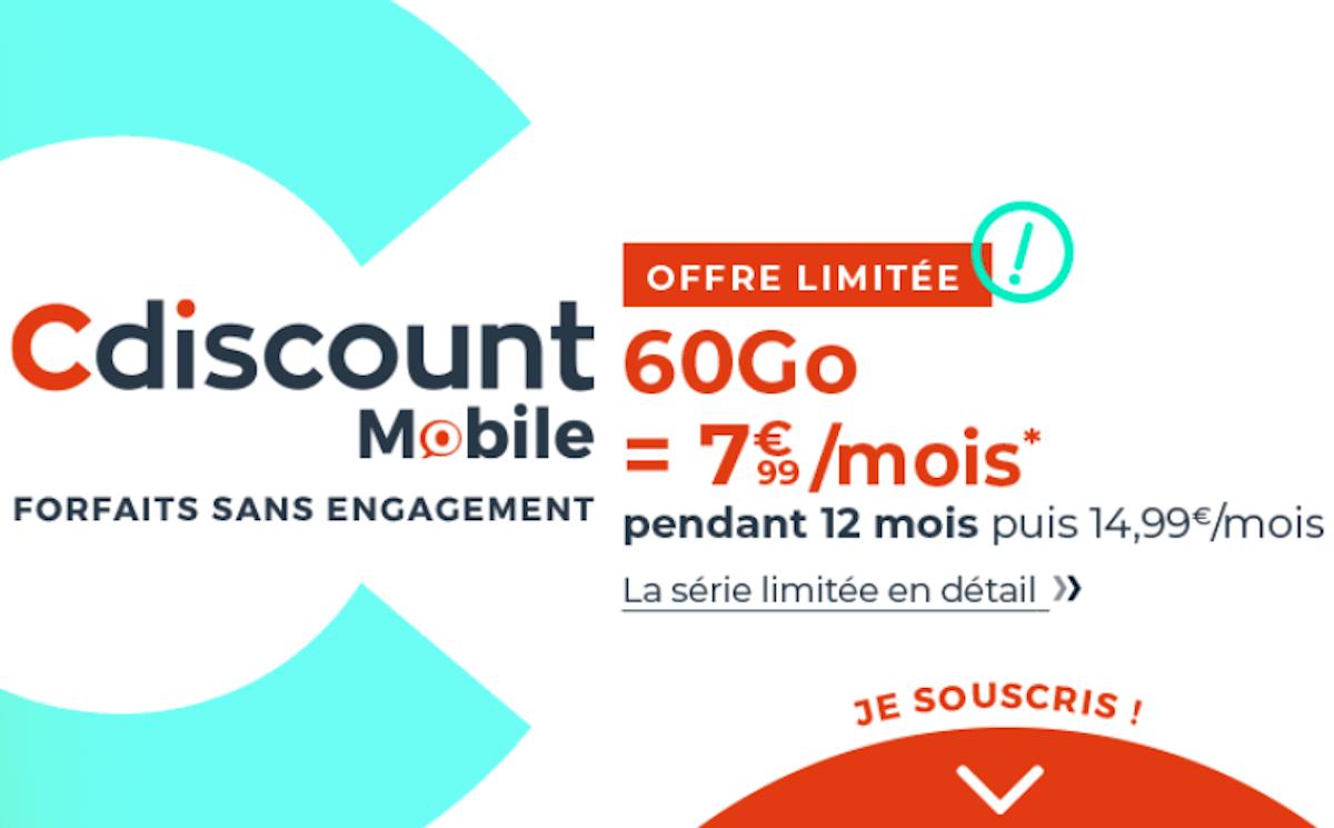 Cdiscount Mobile forfait 4G sans engagement 60 Go