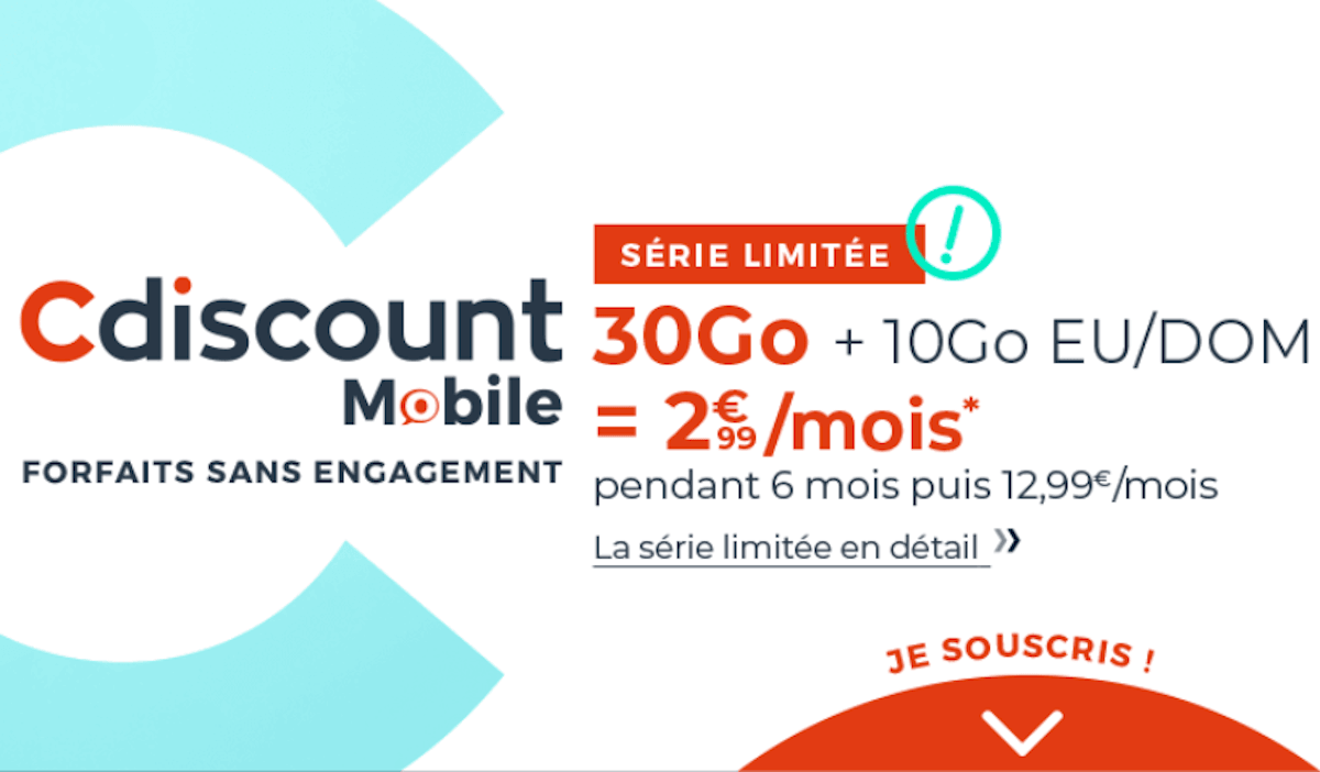 Cdiscount Mobile forfait pas cher 30 Go