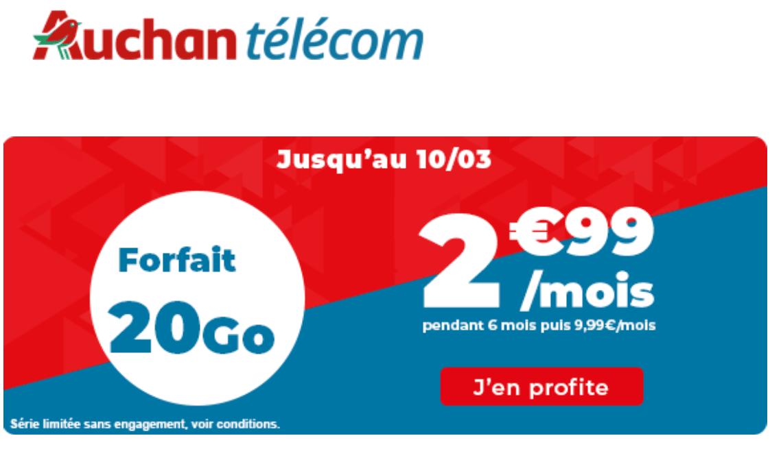 Forfait pas cher Auchan télécom