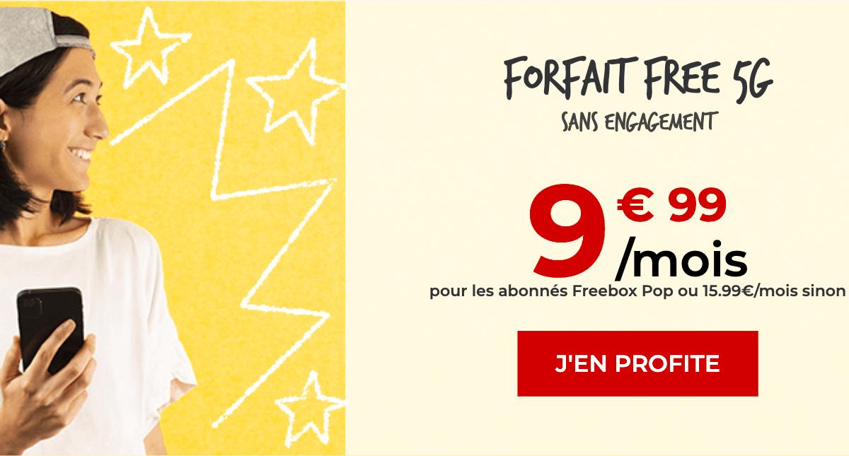 Free 5G forfait sans engagement