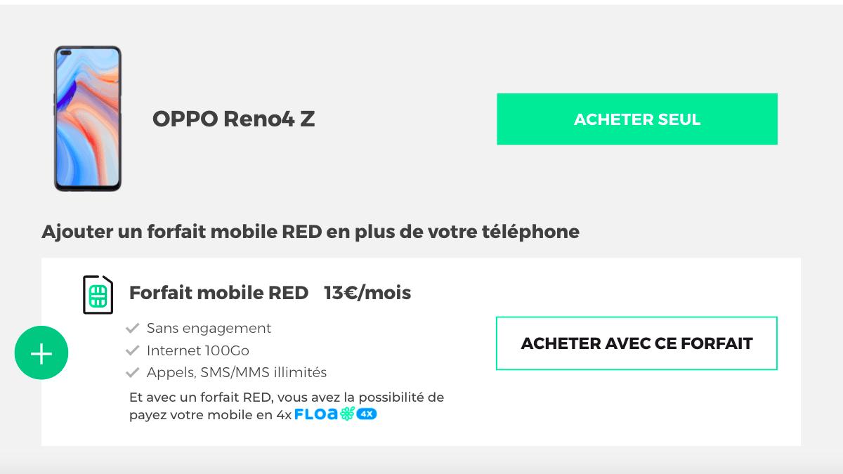 achat smartphone oppo reno4 z avec forfait 100 Go