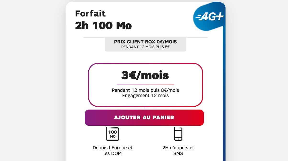forfait 4G 2h 100 mo sfr