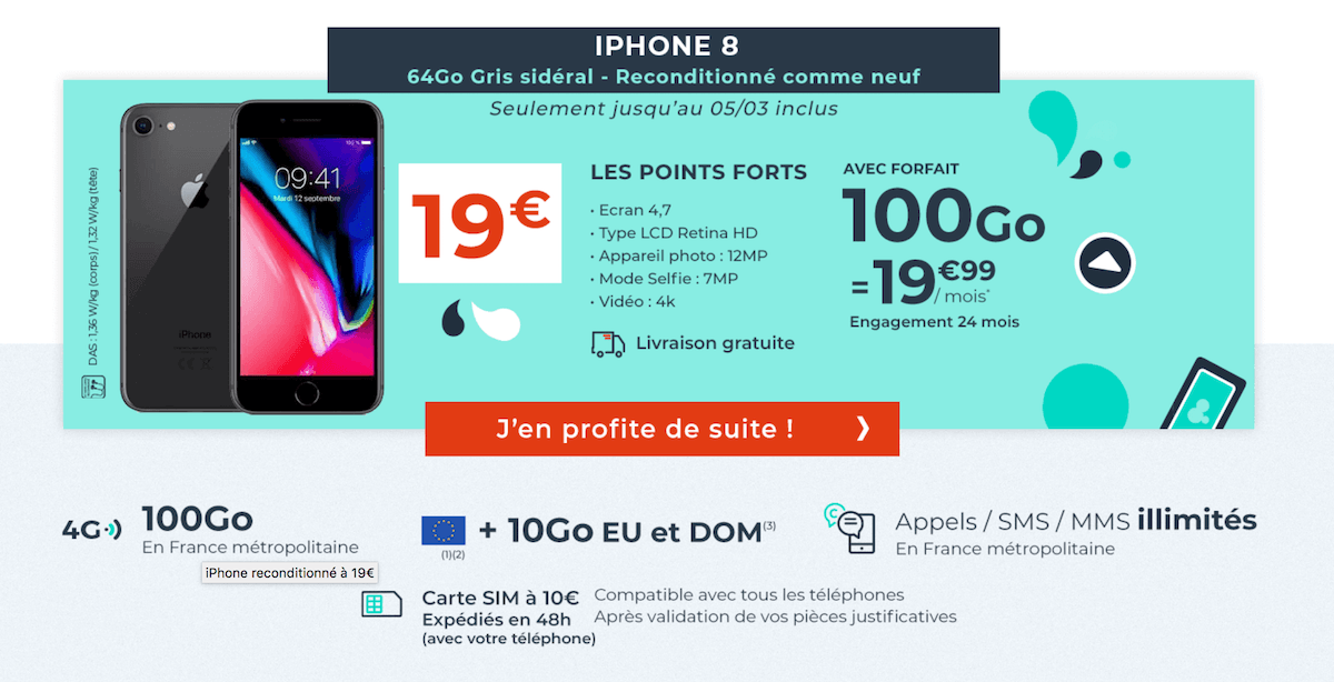 iphone 8 forfait cdiscount mobile