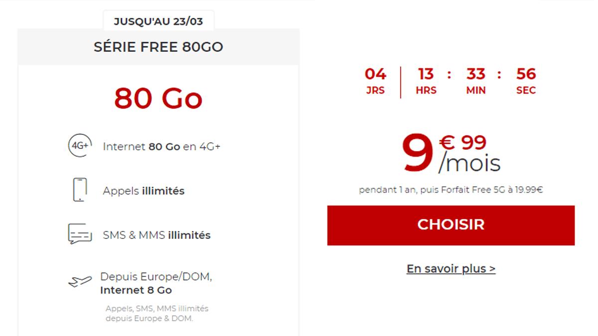 9,99€ par mois avec Free mobile