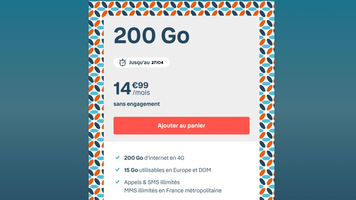 Forfait mobile B&You 200 Go