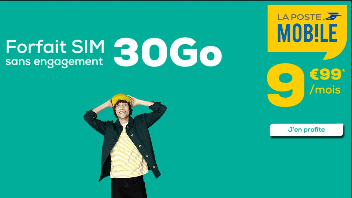 Forfait mobile 30 Go à 9,99€/mois