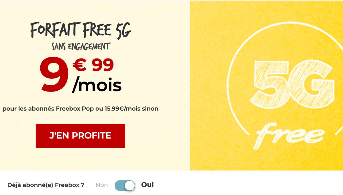 Forfait 5G à petit prix de Free