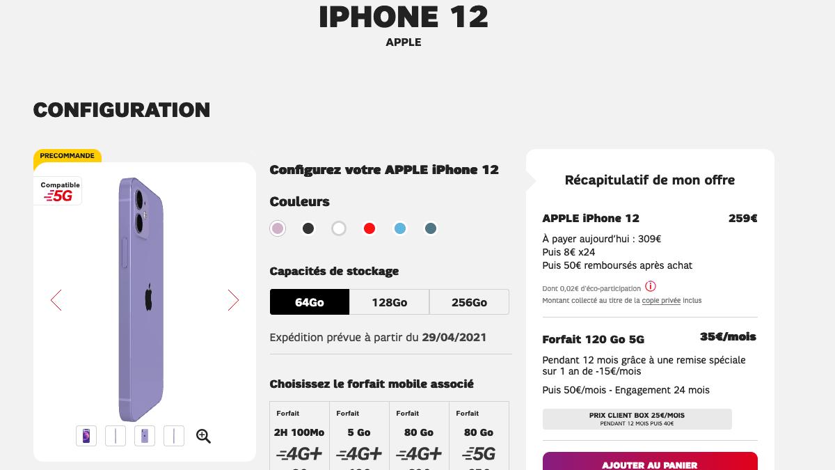 Le forfait mobile 120 Go 5G SFR