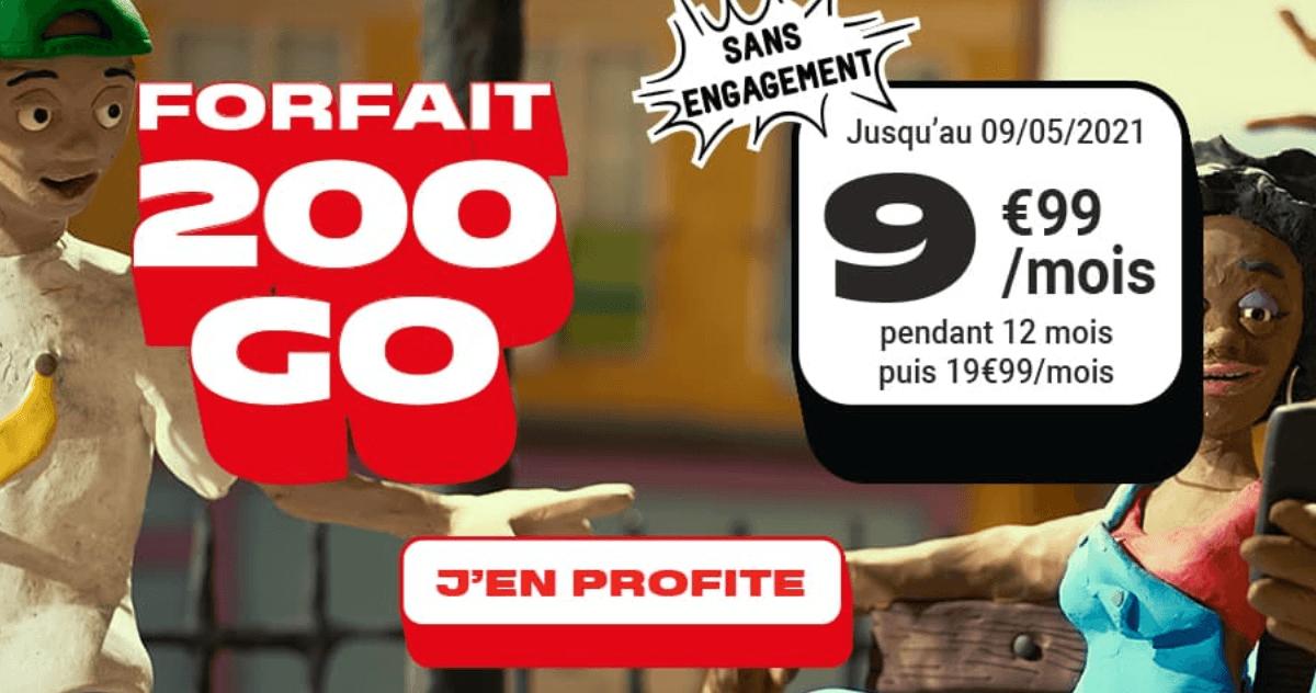 Le forfait 4G 200 Go de NRJ
