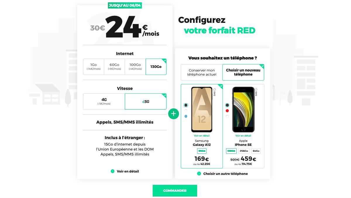 Forfait 5G avantage smartphone RED
