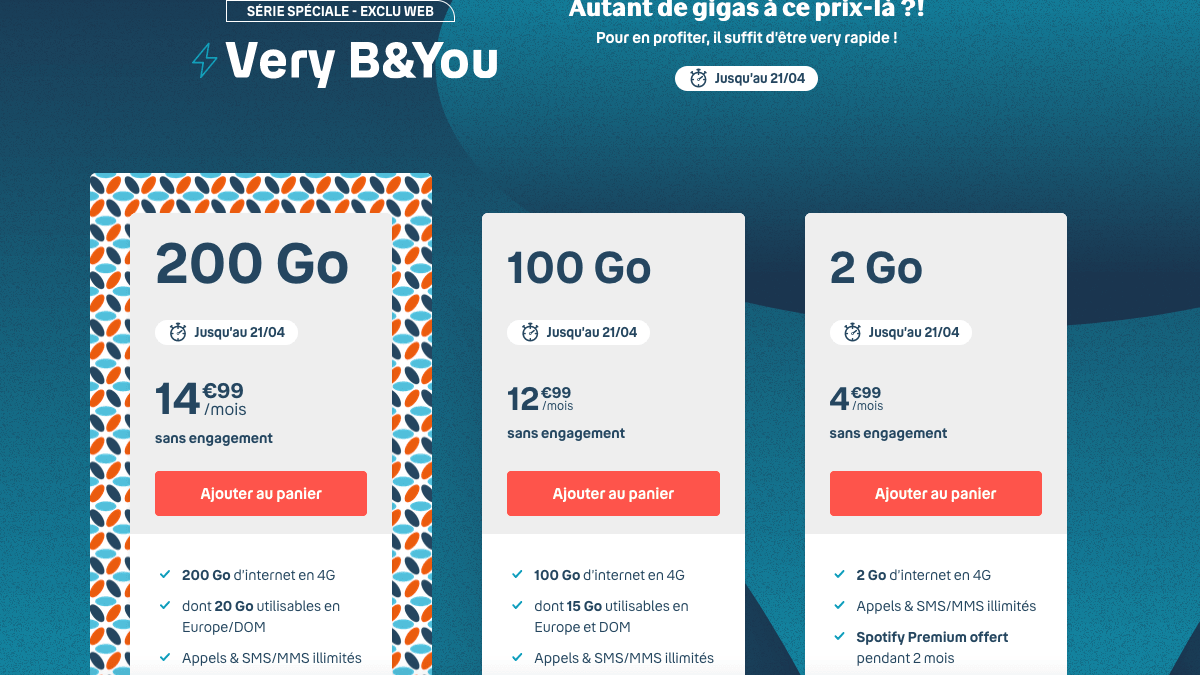 Forfait mobile Very B&You 100 Go