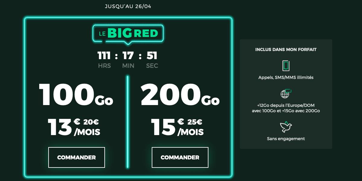 forfaits mobiles promo BIG RED